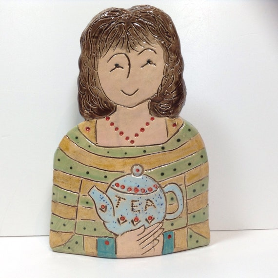 IN STOCK NOW. Lady with Teapot. Handmade ceramic bust, mini-bust, Colourful People, collectible, one of a kind