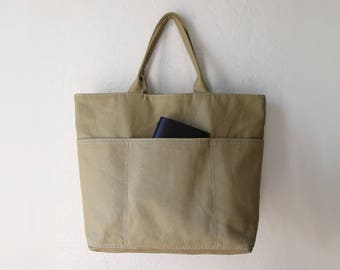 Utility Tote in Khaki Organic Cotton Canvas