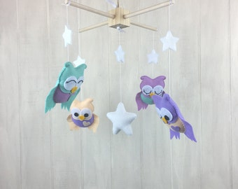 Baby mobile - owl mobile - owl nursery - star mobile - baby crib mobile - nursery decor - custom colors available