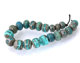 Teal lampwork glass bead set Teal handmade round beads Small glass beads teal Aqua lampwork beads Sea Rocks Anne Londez SRA