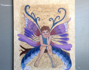 "WOODLAND FAERY ORIGINAL Fairy Painting Titled ""Brewing Trouble"" Acrylic on Canvas Original Signed Artwork by Blevins Cohea 16x20x1/2in"