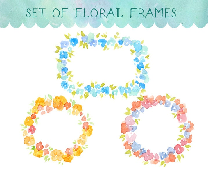 Watercolour Clipart Watercolor Flowers Floral Frame