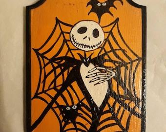 Jack Skellington painted on wood