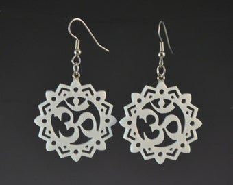 Ornate OM Earrings- White - Meditation Aum Yoga Spiritual Jewelry - Upcycled Corian Handmade Recycled Jewelry by Mark Noll - Gift for Her