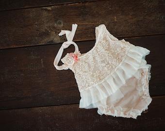 Blush peach Dress Set.  NB sized
