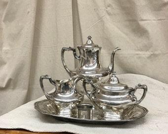 "Silver Tea Service English Tea Pot Creamer Sugar GMCo EP Mid Century Hand Engraved ""B"" Initial ""B"""