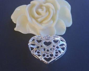 2 pendants heart Ajoure (28B) silver 3D charm