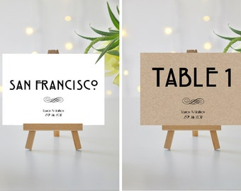 A5/A6 Personalised Wedding/Party/Dinner Table Name / Number Cards (004)