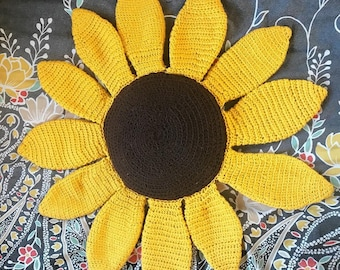 Crochet Sunflower Pillow