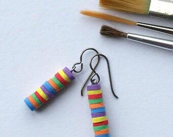 color wheel earrings, colour wheel earrings, multi-colored earrings, COLOR WHEEL, hypoallergenic niobium earwires