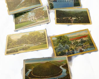 7 Unused Linen West Virginia Postcards Winfield Lock, New River Canyon, C & 0 Railroad, Wheeling