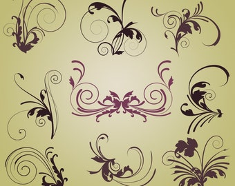 Flourishes Photoshop Brushes Elegant Flourishes Photoshop Brushes - Commercial and Personal