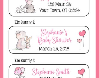 Personalized ELEPHANT and BUNNY Return Address or Baby Shower Favor Labels, Sets of 30