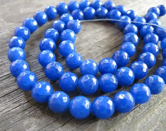 6mm JADE Beads in Lapis Blue, Faceted, Round, Full Strand, 62 Pcs, Gemstones, Blue Stone Beads