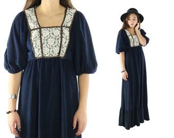 Vintage 70s Peasant Dress Maxi Renaissance Empire Waist Lace Bib Puff Sleeves Navy Blue Hippie Boho 1970s Small S Medium