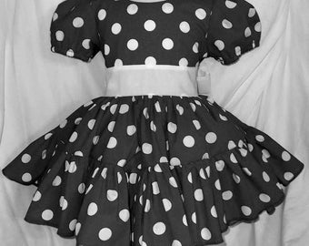 Black and White Polka Dot Twirly Square Dance Style Dress with puff sleeves and waist sash.  Infant Baby Toddler Girls Black and White Dress