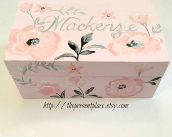hand painted,personalized,keepsake box,pale pink,grey,antique pink,soft roses,girl's memory box,baby's keepsake box,personalized  baby gift