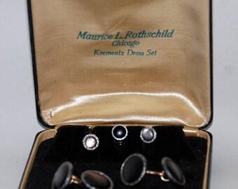 1930s-'40s era Krementz Formal Tuxedo Dress Shirt Studs and Cufflinks Set -- Free USA Shipping!