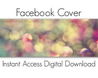 Facebook Cover Digi Download, Pastel Bokeh, Instant Access, Pre-made Facebook Cover, DIY, NO TEXT, Pink, Purple, Teal, Cream, Vintage Flavor