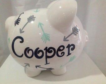 Personalized Large Piggy Bank Navy, Mint Green/ Grey Arrows-Boys ,Newborns Baby Shower,Christening , Baptism, Flower Girl Gift Centerpiece