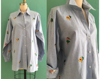 vintage 80's denim Hawaiian blouse // oversized novelty embroidered button down