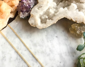 Small Clear Quartz Necklace on 14KT Gold Chain