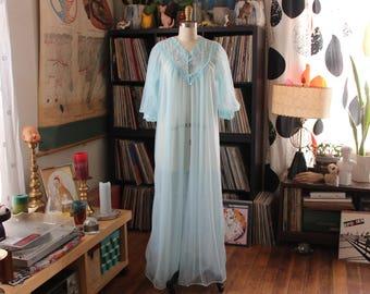 vintage chiffon peignoir by JC Penney . full length pale blue sheer nylon robe, fits many