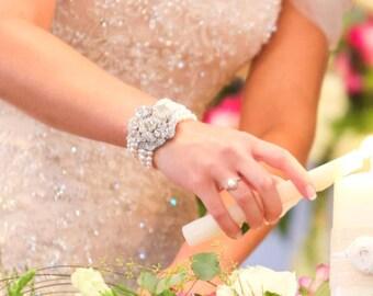 pearl bracelet bridal bracelet pearl rhinestone Bracelet Statement wedding Bracelet Rhinestone Bracelet swarovski pearl bracelet ANGELINA