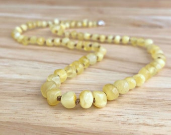 Amber Teething Necklace - Customizable amber necklace, Milky rounds, Baltic amber teething necklace, amber baby necklace, natural baby gift
