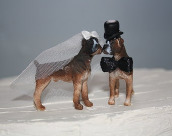 Boxer Wedding Cake Topper - Small - Dog Cake Topper - Bride and Groom - Mr and Mrs - Must Love Dogs - Cute Animal Cake Topper - Fun