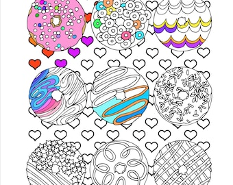 Printable Love Doughnuts Coloring Page