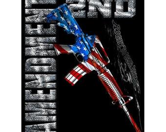 2nd Amendment Blankets/Patriotic Blankets/Military Blankets/American Flag M-4 Carbine 2nd Amendment Fleece Blanket- 50x60