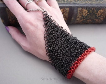 Chainmaille Handflower / Slave Bracelet Black and Red chain mail ring bracelet hipster goth renaissance toggle clasp