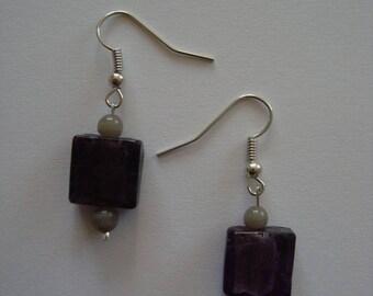 Purple and grey Pearl Stud Earrings