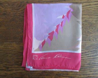Vintage Anne Klein Pink Silk Long Scarf