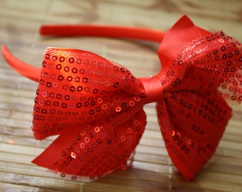 Red satin sequin headband