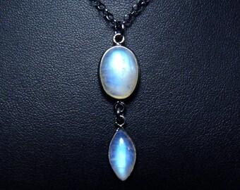 Rainbow Moonstone Necklace, Rainbow Moonstone Pendant, Vibrant Sky Blue, Cobalt Blue, and Aqua Fire, Oxidized Sterling Silver Bezel & Chain