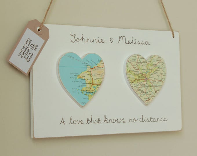 Love Story Vintage Map Wooden Plaque - Choose your locations and wording