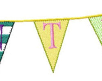 BUNTING FONT Machine embroidery Designs