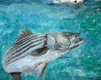 Striped Bass ( rockfish )  acrylic painting ( print )