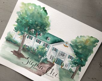 8x10 watercolor Custom home illustration