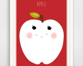 Children's Wall Art / Nursery Decor Red Apple  print by Finny and Zook