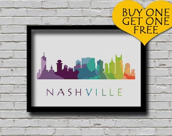 Cross Stitch Pattern Nashville Memphis Knoxville Tennessee City Silhouette Watercolor Effect Usa City Skyline Art xstitch Chart