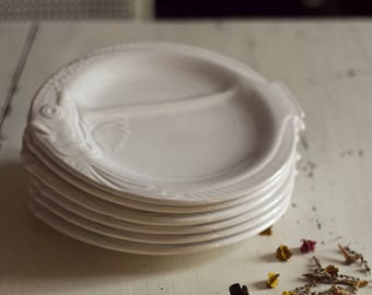 Manufacture Francaise Nidervillers fish plates. Fish, fish plates set. French ceramics. Nidervillers