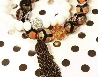 Pink Soccer Gemstone Bracelet Set