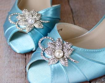 Wedding Shoes, Blue Wedding Shoes, Kitten Heel, Peep Toe, Something Blue, Blue Bridal Shoes, Simple Wedding Shoes, Wide Width Wedding Shoes