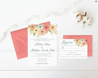 Fall Wedding Invitations, Floral Wedding Invitation Set, Boho Wedding Invitation Suite, Wedding Suite, Flower Wedding Invites with Envelopes