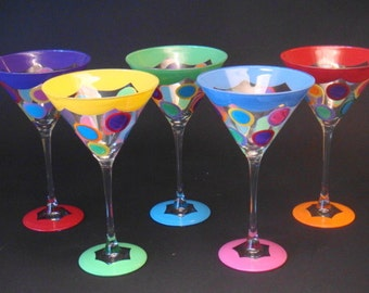 polka dot martini with red, lime, sky blue, orange, yellow, purple....by detroitglasscompany