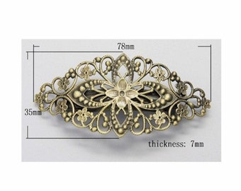 Antiqued dark Bronze Filigree hair Barrette hair clip for beading or gluing embellishment victorian steampunk  jewelry finding 400x