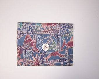 PRICE REDUCED Small Fabric Wallet, small clutch, blue batik wallet, summer wallet